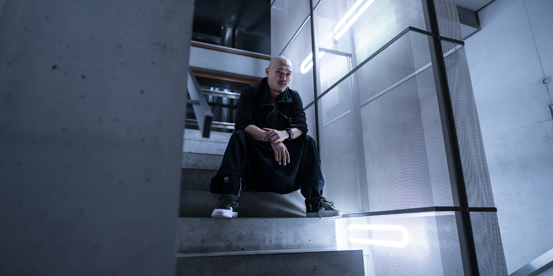NikeLab Shanghai x ACRONYM® AF1 Downtown Berlin Launch - Errolson Hugh, Stairs by Jennifer Bin